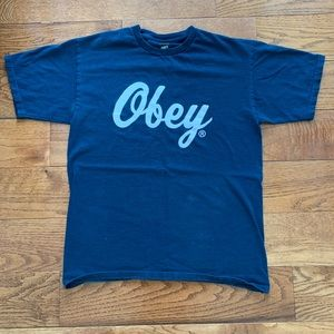 Obey Navy Blue T-Shirt Size Med.